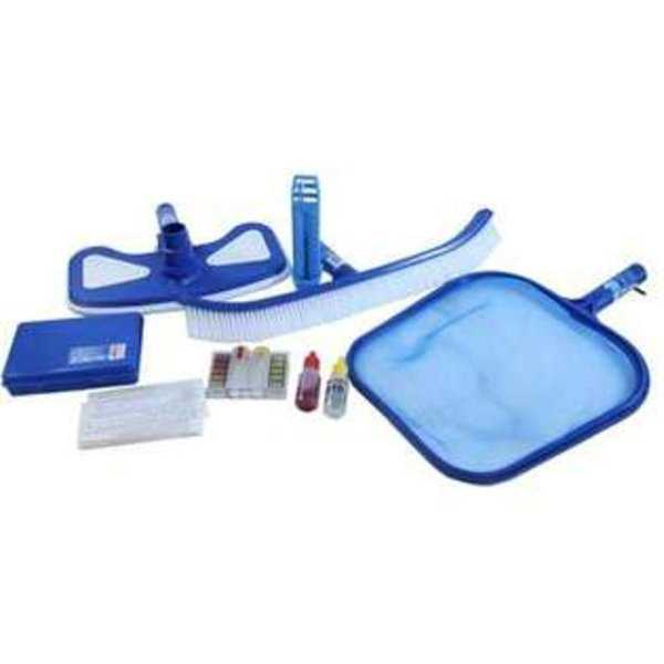 5-Piece Premium Blue and White Swimming Pool Cleaning Maintenance Set with Test Kit