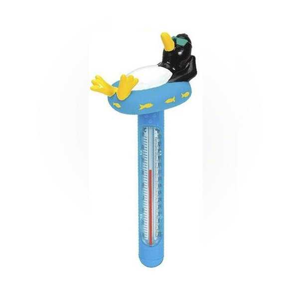 Relaxing Penguin Floating Swimming Pool Thermometer with Cord, 8.5-Inches - Blue